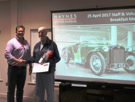 Keith Harrison receiving his 10 year award for Volunteering at Haynes International Motor Museum