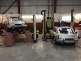 MGCs in the workshop for investigation at Haynes International Motor Museum