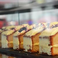 cake on display in cafe
