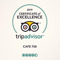 Awarded  Certificate of Excellence on Trip Advisor, Café 750 Somerset